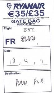 Ryanair gate bag receipt