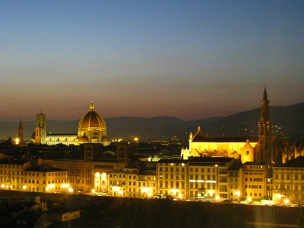The Duomo and Santa Croce Church in Florence Italy from Piazzale Michelangelo