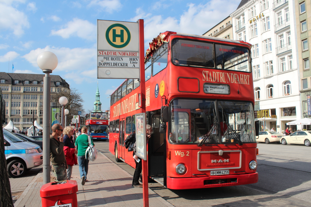 Red Double Decker Bus Hamburg Germany