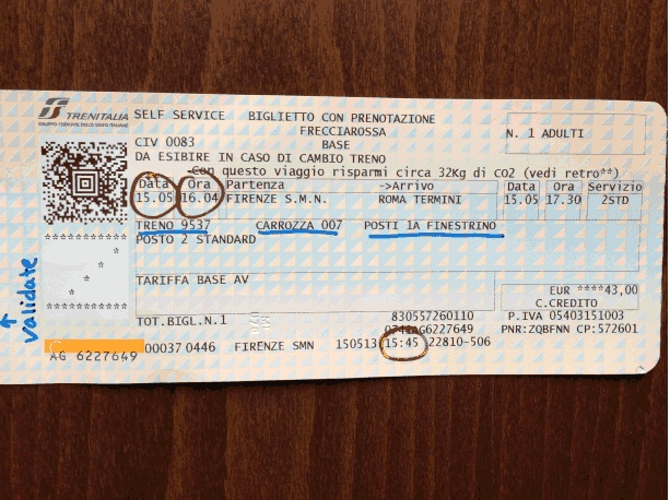 Train ticket Italy