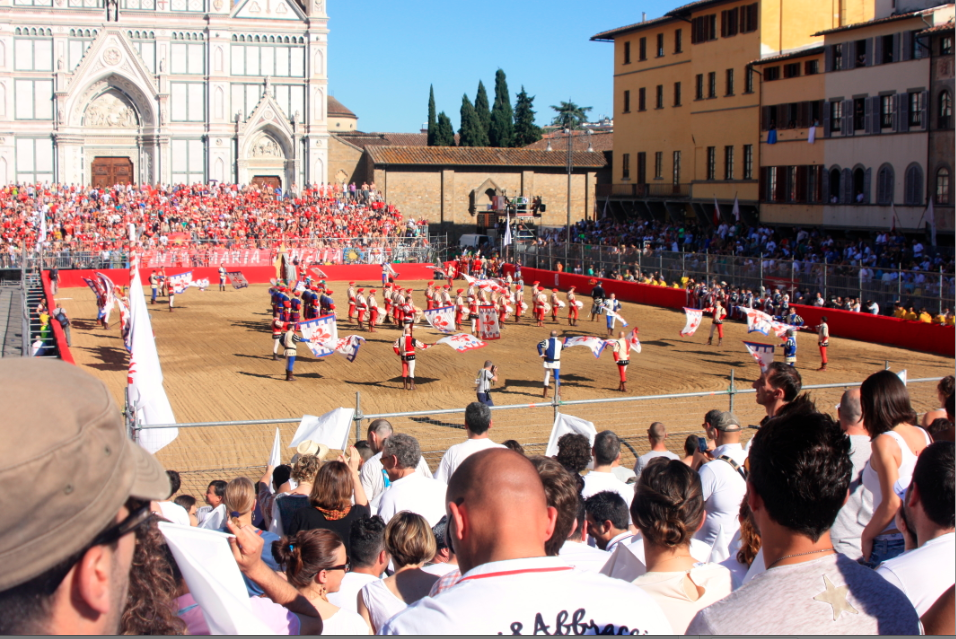 Flag men on the field at calcio storico Florence Italy