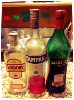 Spirits used in a Negroni