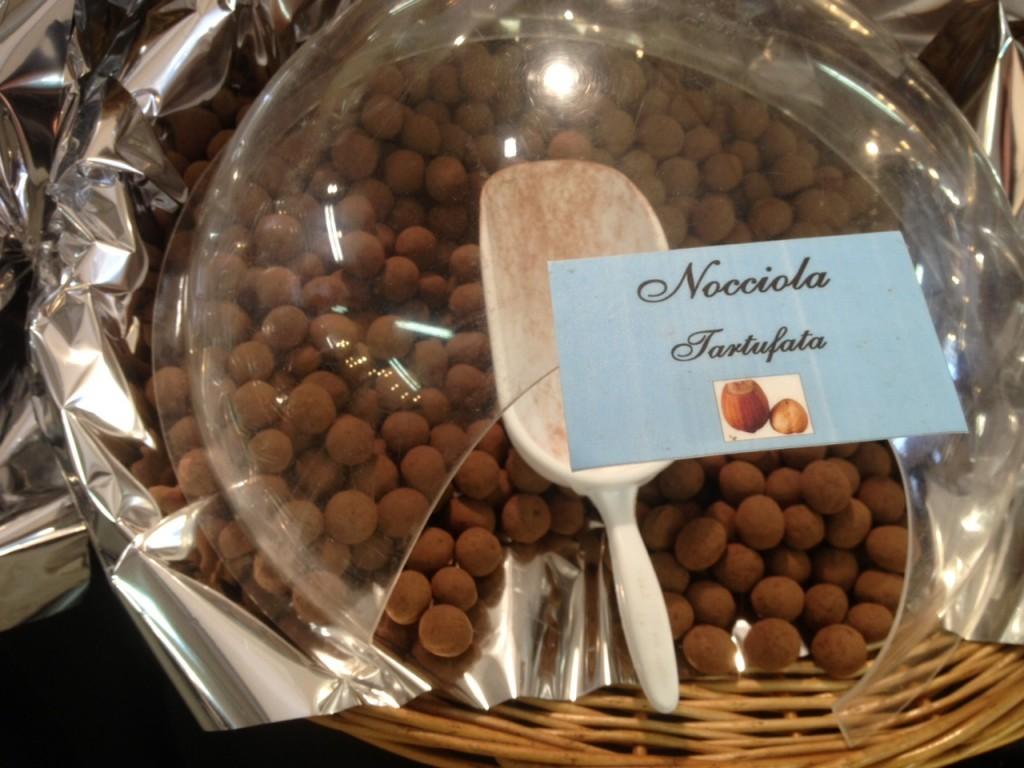 Hazelnut truffles Florence Italy Chocolate Fair