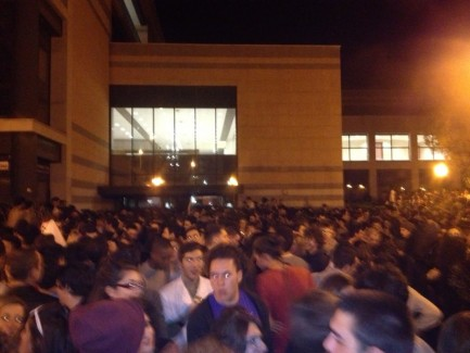 Crazy Crowd outside UniFi party in Florence