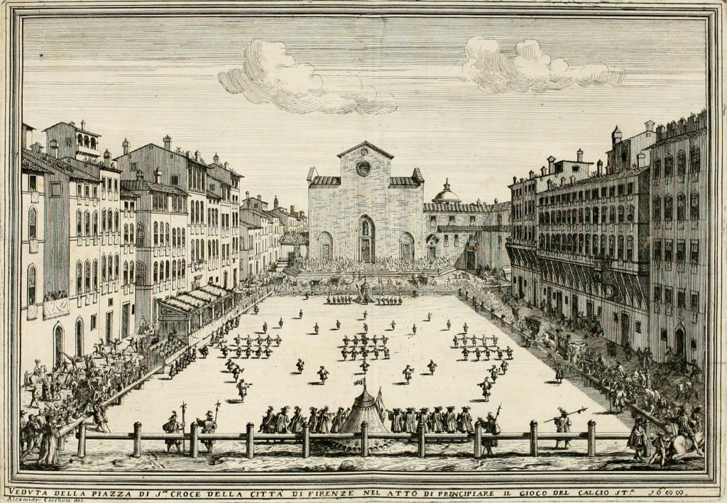 A game of Calcio storico in the 1600s, with the old facade of Santa Croce