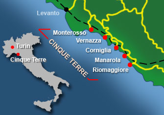 map of five towns Cinque Terre