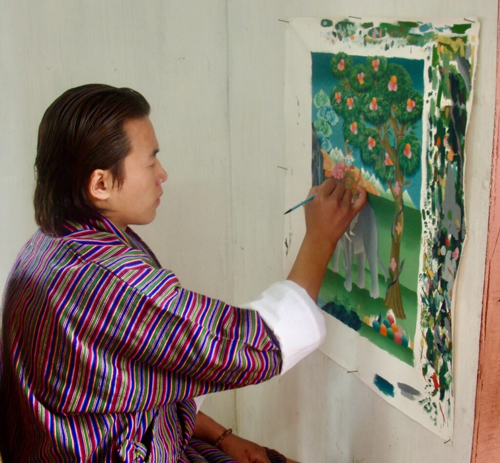 asian art student painting